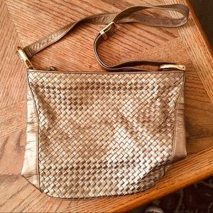 Ganson Vintage Metallic Basketweave Shoulder Bag